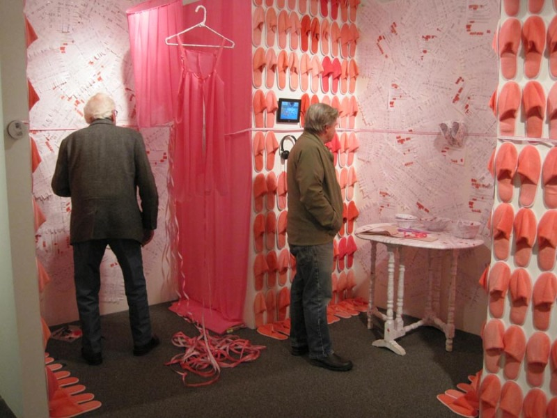 installation view of the Pink Slip Project in Brattleboro Museum's exhibition, Hot Pot: A Taste of Contemporary Chinese Art, opening day
