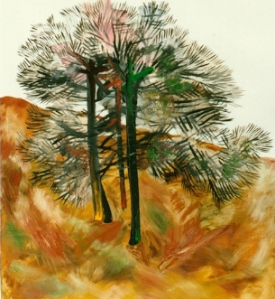 Three Trees, by Cai XI Silver, October 1988, 40 by 30""